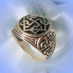 """кольцо """"Валькирия - I"""" серебро.эмаль зелень"""