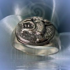"""кольцо """"Волчий оскал"""" серебрение"""