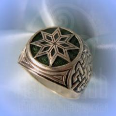 """кольцо """"Звезда Алатырь - I"""" серебро.эмаль зелень"""
