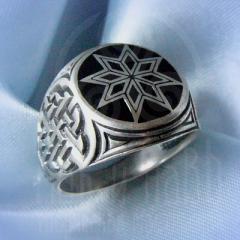 """кольцо """"Звезда Алатырь - I"""" серебро.эмаль черная"""
