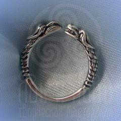 """кольцо """"Грифон и собака"""" серебрение"""