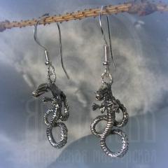 """серьги """"Водный дракон"""" серебрение"""