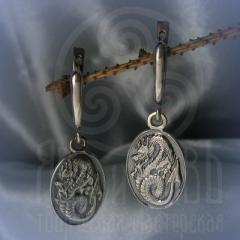 """серьги """"Драконы"""" серебро"""