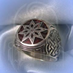 """кольцо """"Звезда Алатырь - I"""" серебро.эмаль бордо"""
