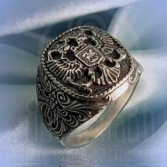 "кольцо ""Двухглавый орел"" серебро"
