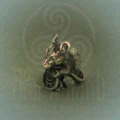 """Сувенир """"Мышка с рубликом"""" Арт. 0001с  серебрение"""