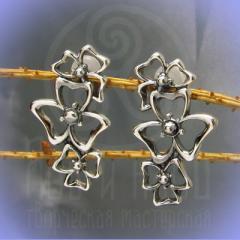 """Серьги-пусеты """"Клевер"""" Арт. 3593с серебрение"""