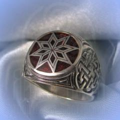 "Кольцо ""Звезда Алатырь"" Арт. 2554э серебро, эмаль"