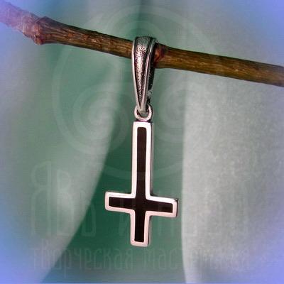 """Подвес """"Перевёрнутый латинский крест"""" Арт. 5604 серебро, эмаль"""